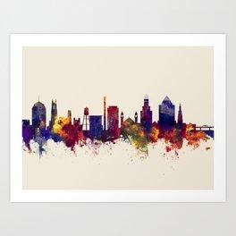 Durham North Carolina Skyline Art Print
