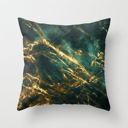 Glamorous Green Faux Marble Pattern With Gold Veins Throw Pillow