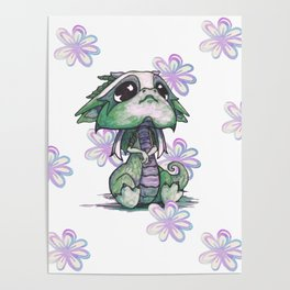 Baby Dragon with Flowers Poster