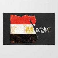 egypt Area & Throw Rugs featuring Egypt Vintage Map by Finlay McNevin