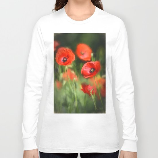 Warmth- Floral Flower Poppies in love- Poppy flowers #Society6 Long Sleeve T-shirt