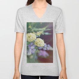 Garden blured flowers Unisex V-Neck