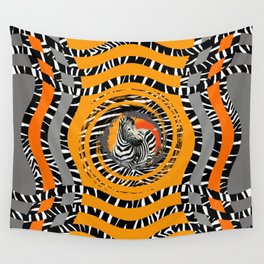 Zebra Tribal Sunset Wall Tapestry