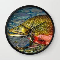 trout Wall Clocks featuring Trout by Edward M. Fielding