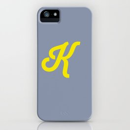 Letter K grey and yellow iPhone Case