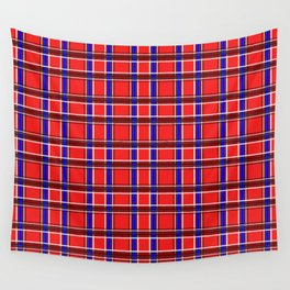 Red blue plaid Wall Tapestry