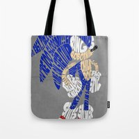 sonic Tote Bags featuring Typography SONIC! by KeenaKorn