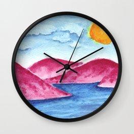 Pink Mountains Watercolor Wall Clock