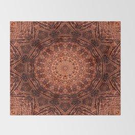Knit pattern kaleidoscope copper Throw Blanket