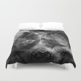 Antique Map Space Stars Black and White Duvet Cover