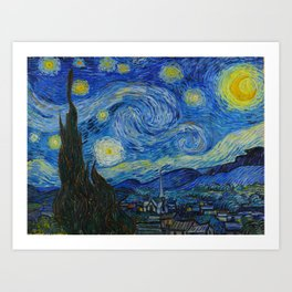 The Starry Night Vincent van Gogh 1889 Oil on canvas Art Print