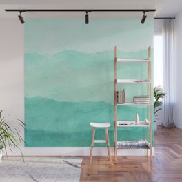 Ombre Waves in Teal Wall Mural