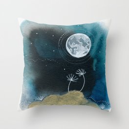 Moon Series #11 Watercolor + Ink Painting Throw Pillow