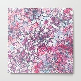 Abstract hand painted pink teal lavender floral Metal Print