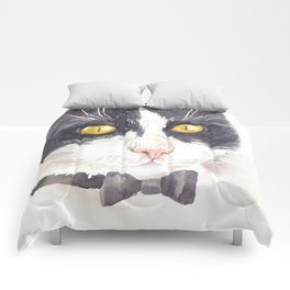 Tuxedo cat Comforters