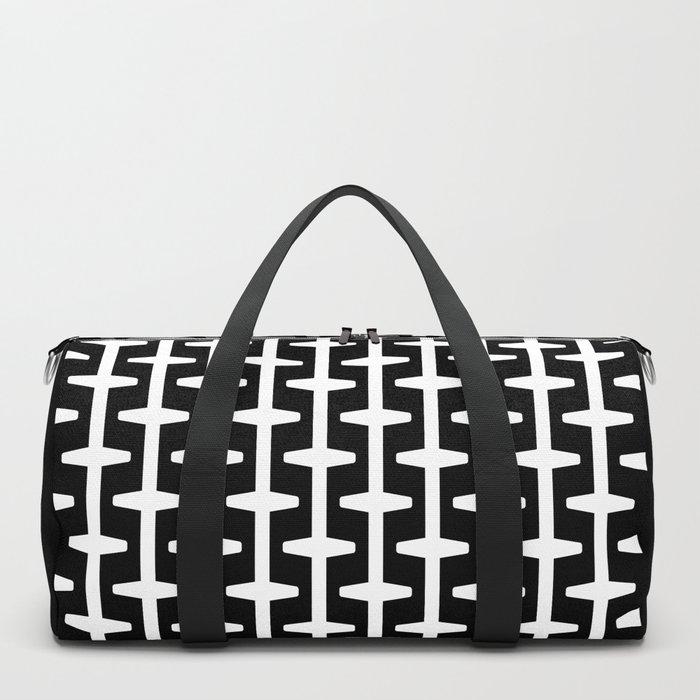 Geometric Pattern 207 (black white) Duffle Bag
