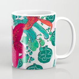 Tropical Lily Bouquet in Delft Vase with Matisse Leaf Cutout Background Coffee Mug