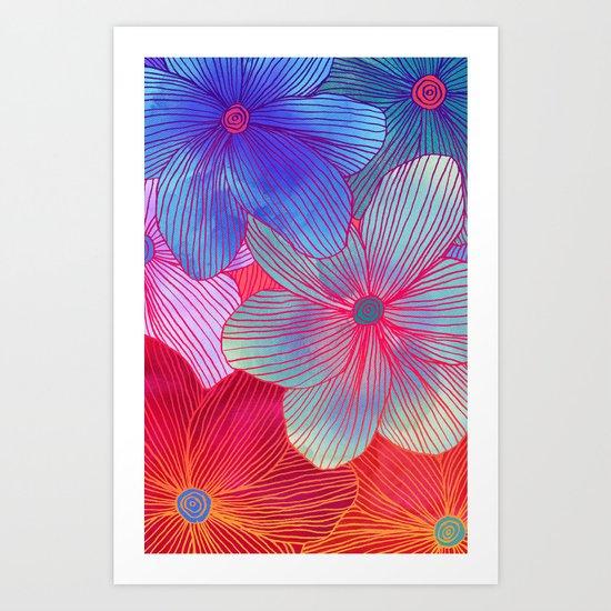 Between the Lines 2 - tropical flowers in purple, pink, blue & orange Art Print