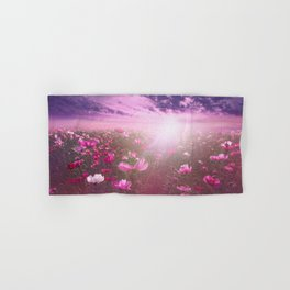 Wild Mexican Aster fields amid the purple sunset Hand & Bath Towel