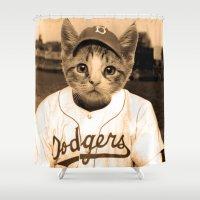 baseball Shower Curtains featuring Baseball Cat by Luigi Tarini