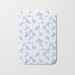 Geometric white, blue pattern. Bath Mat