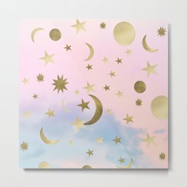 Pastel Starry Sky Moon Dream #1 #decor #art #society6 Metal Print