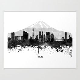 Tokyo Black White Named Skyline Art Print