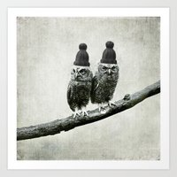 owls Art Prints featuring Owls by Juste Pixx Designs