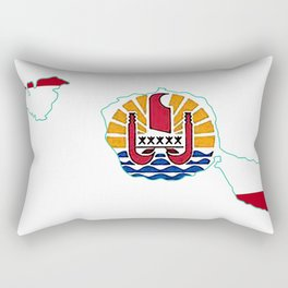 Tahiti Map with Tahitian Flag Rectangular Pillow
