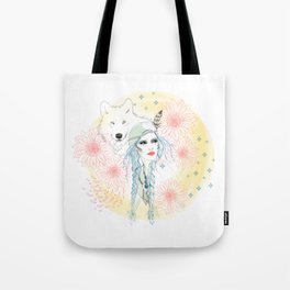 Girl and wolf Tote Bag