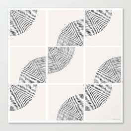 Threads; Black, White and Neutral Tile Pattern Canvas Print