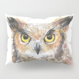 Owl Great Horned Owl Watercolor Pillow Sham