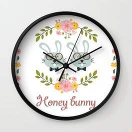 Honey bunny. Gay rabbits couple Wall Clock