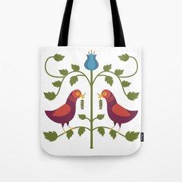 Simple Bird Folk Art Tote Bag