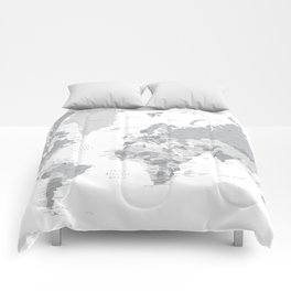 "Gray world map with cities, states and capitals, ""in the city"" Comforters"