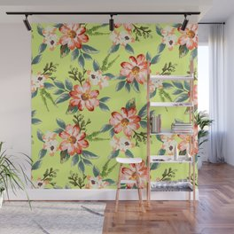 Hand draw water colored flowers Wall Mural
