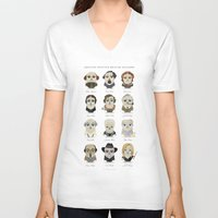 roald dahl V-neck T-shirts featuring Greater-Spotted British Authors by Scott Tyrrell