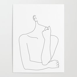 Womans body line drawing illustration - Helen Poster