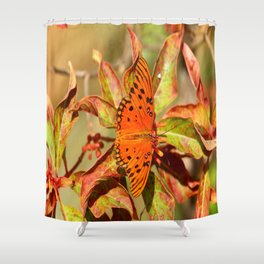 Butterfly In The Glades - Gulf Fritillary Shower Curtain