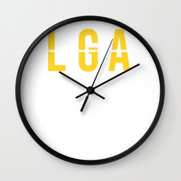 LGA - La Guardia Airport - New York City - Airport Code Souvenir or Gift Design Wall Clock