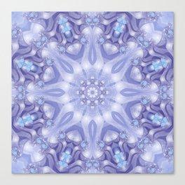 Light Blue, Lavender & White Floral Mandala Canvas Print