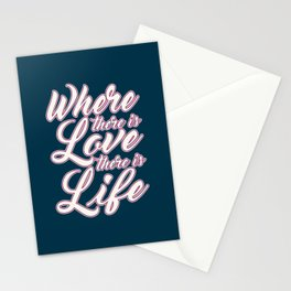 Where There is Love Valentine's Day Calligraphy Stationery Cards