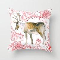 reindeer Throw Pillows featuring Reindeer by Naomi Bardoff