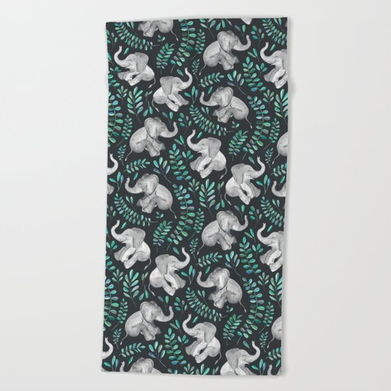 Laughing Baby Elephants – emerald and turquoise Beach Towel