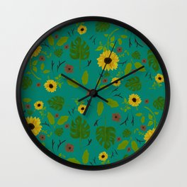 Sunflower & Monstera Leaf Wall Clock