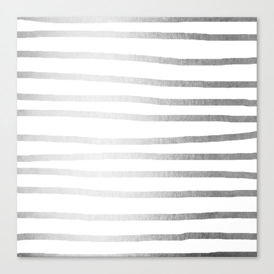 Simply Drawn Stripes Moonlight Silver Canvas Print