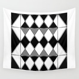 Shiny diamonds in black and white. Geometric abstract. Wall Tapestry