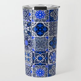 -A34- Blue Traditional Floral Moroccan Tiles. Travel Mug