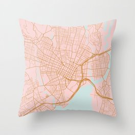 New Haven map, Connecticut Throw Pillow