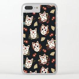 Kitsune Mood Masks Clear iPhone Case